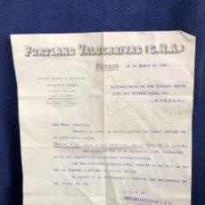 Cartas comerciales: PORTLAND VALDERRIVAS C.M.A. MADRID 1941 ABONO INTERESES EN CUENTA TESTAMENTARIA. Lote 114450127