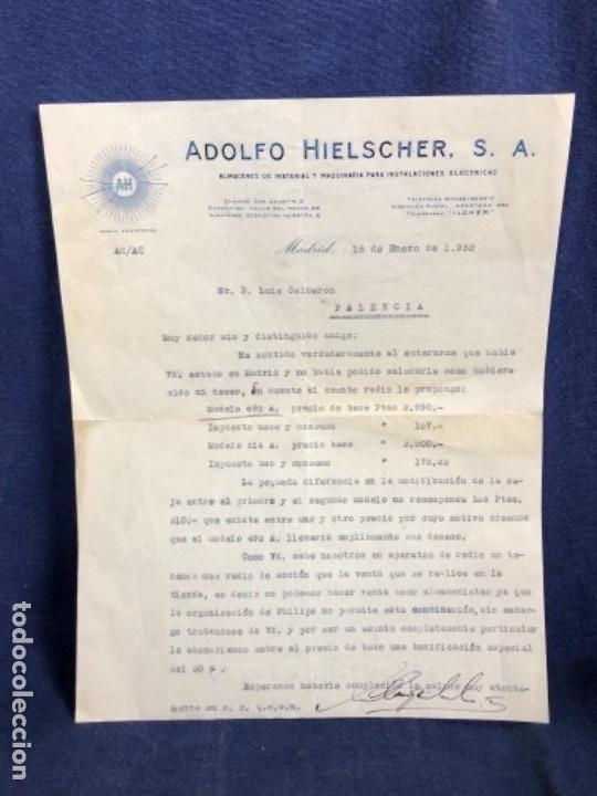 CARTA COMERCIAL ADOLFO HIELSCHER S.A. 1952 VENTA RADIO PHILIPS 492 A 514 A PALENCIA (Coleccionismo - Documentos - Cartas Comerciales)