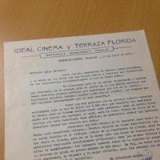 Cartas comerciales: ANTIGUA CARTA COMERCIAL IDEAL CINEMA Y TERRAZA FLORIDA HUERCAL OVERA 1977. Lote 114824063
