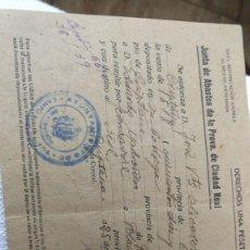 Cartas comerciales: AUTORIZACIÓN DE VENTA DE VINOS 1939.CAMPO DE CRIPTANA. Lote 114846679