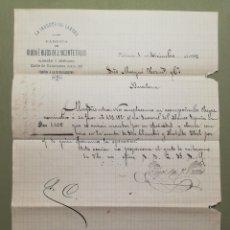 Cartas comerciales: CARTA COMERCIAL. LA INDUSTRIAL LANERA. VALENCIA. 1896.. Lote 114933522