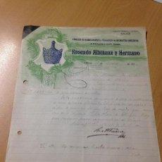 Cartas comerciales: ANTIGUA CARTA COMERCIAL FABRICA VIDRIO GARRAFAS ALBIÑANA Y HERMANO OLLERIA VALENCIA 1921. Lote 115448971