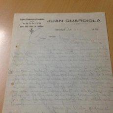 Cartas comerciales: ANTIGUA CARTA COMERCIAL TEJIDOS COLONIALES ABONOS GUARDIOLA RECUEJA ALBACETE. Lote 115449655