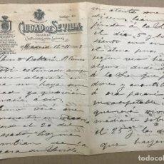 Cartas comerciales: CIUDAD DE SEVILLA SECCION DE CONFECCIONES PARA SEÑORAS, CARTA CON MEMBRETE PUBLICITARIO,ESCRITA 1917. Lote 115810691