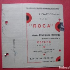 Cartas comerciales: JOSE RODRIGUEZ BORREGO.-FABRICA DE IMPERMEABLES DE CAMPO.-TARIFA DE PRECIOS.-ESTEPA.-SEVILLA.-1963.. Lote 117432903