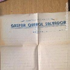 Cartas comerciales: MORELLA. SERRERÍA MECÁNICA GASPAR QUEROL SALVADOR. Lote 118706447