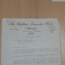Cartas comerciales: CARTA COMPAÑIA DE LOCOMOTORAS BALDWIN A SDAD GRAL HISPANO MARROQUI-1920-MELILLA Y LARACHE. Lote 118764074