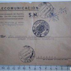 Cartas comerciales: RARISIMO SOBRE VALORES DECLARADOS CASPE TELECOMUNICACIONES LACRES ZARAGOZA. Lote 118860035