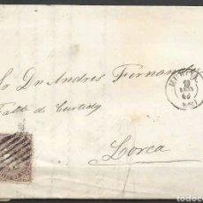 Cartas comerciales: CARTA EDIFIL N°98 DE MURCIA A LORCA 1869. Lote 119836175