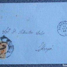 Cartas comerciales: CARTA EDIFIL N°52 DE BARCELONA A MOYA 1860. Lote 120340164