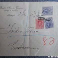 Cartas comerciales: SOBRE CUSTERA BADAJOZ CERTIFICADO Y AMBULANTE 1917. Lote 120351088