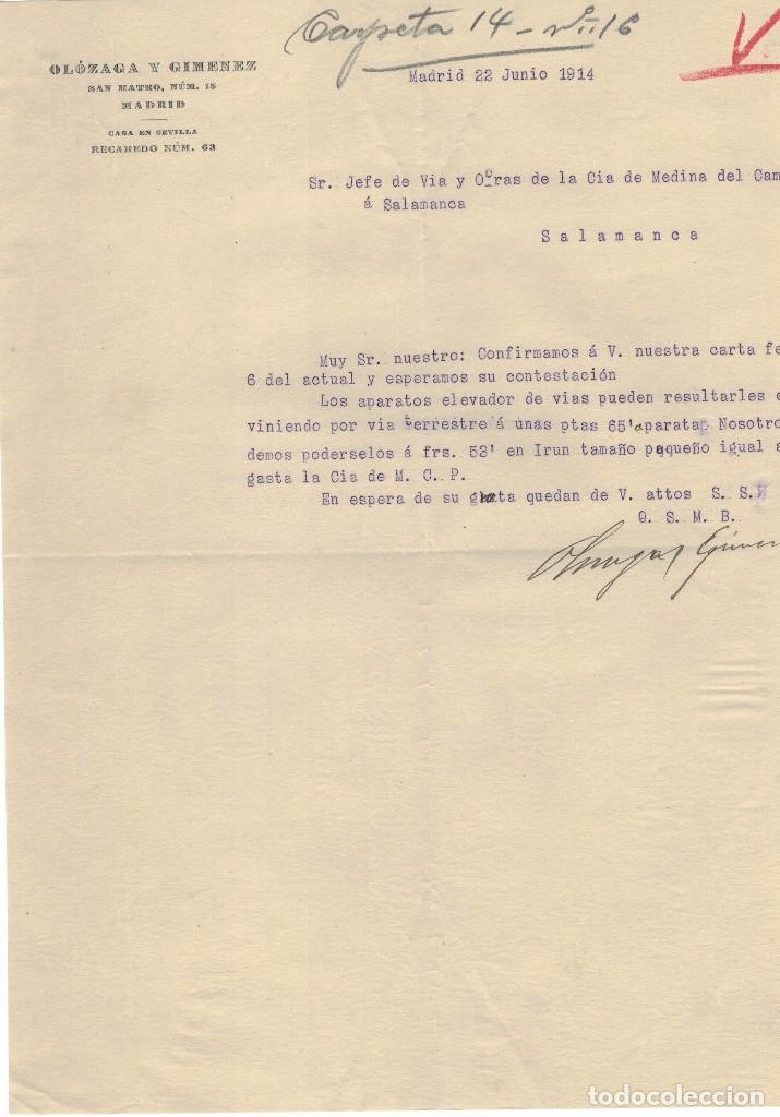 OLÒZAGA Y GIMENEZ MADRID, OFERTA COMERCIAL 1914 (Coleccionismo - Documentos - Cartas Comerciales)