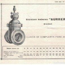 Cartas comerciales: SOCIEDAD AURRERA, HOJA DE PROPAGANDA. Lote 121720703