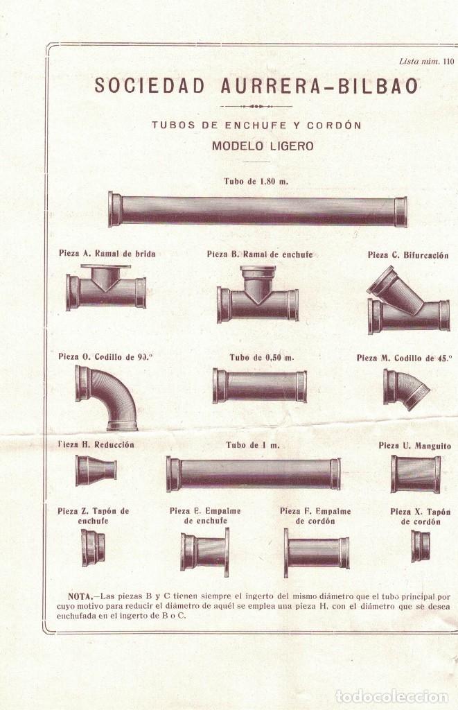 SOCIEDAD AURRERA, HOJA DE PROPAGANDA (Coleccionismo - Documentos - Cartas Comerciales)
