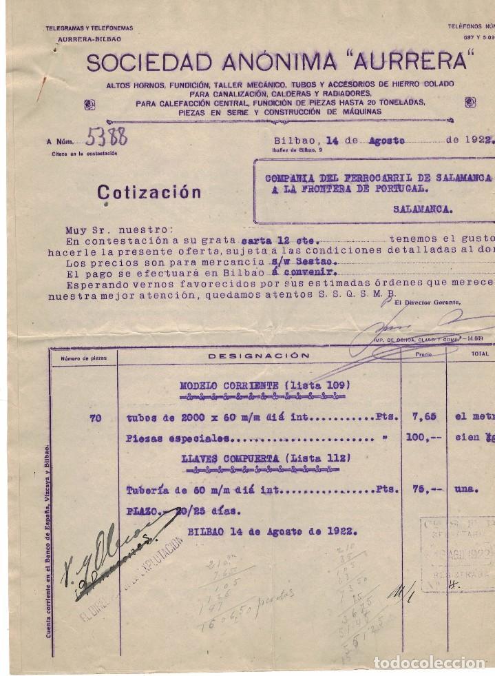 SOCIEDAD AURRERA, PRESUPUESTO, AÑO 1922 (Coleccionismo - Documentos - Cartas Comerciales)