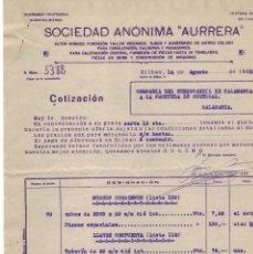 Cartas comerciales: SOCIEDAD AURRERA, PRESUPUESTO, AÑO 1922. Lote 121720863