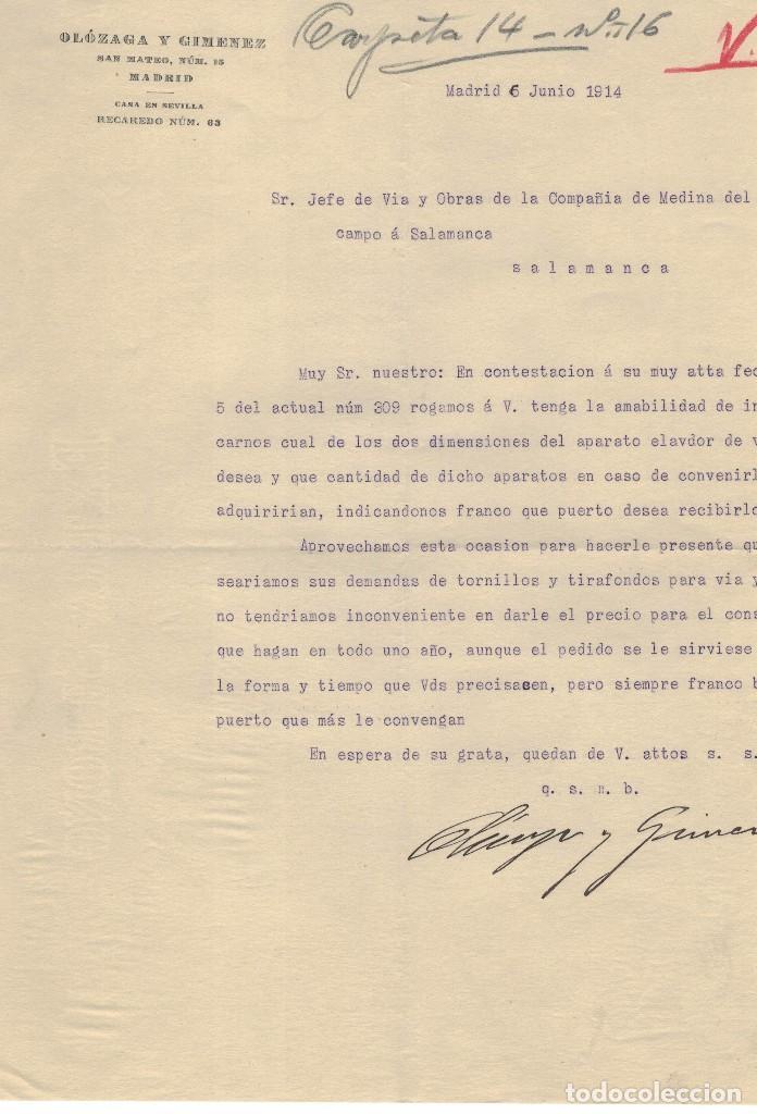 OLÓZAGA Y GIMENEZ, ESCRITO COMERCIAL, AÑO 1914 (Coleccionismo - Documentos - Cartas Comerciales)