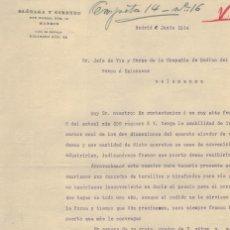 Cartas comerciales: OLÓZAGA Y GIMENEZ, ESCRITO COMERCIAL, AÑO 1914. Lote 121721123