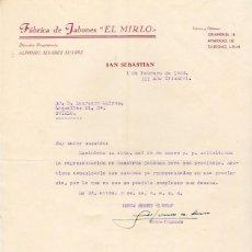 Cartas comerciales: GUERRA CIVIL. 1939. FABRICA DE JABONES EL MIRLO. SAN SEBASTIAN. Lote 122019415