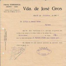 Cartas comerciales: GUERRA CIVIL -CARTA COMERCIAL DE FABRICA ESPERANZA DE VDA. DE JOSÉ GROS-CONTROL OBRERO CNT UGT -VIC-. Lote 122031827