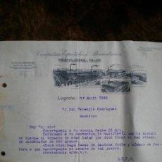 Cartas comerciales: ANTIGUA CARTA COMERCIAL EMPRESA DE LOGROÑO. Lote 123078459