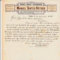 Cartas comerciales: CARTA COMERCIAL DE IMPRENTA LIBRERÍA MANUEL SINTES ROTGER EN MAHÓN -1930. Lote 123278759