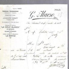 Lettres commerciales: CARTA COMERCIAL. LA CRUZ BLANCA. G.MAESO. SAN SEBASTIAN, 1901.. Lote 124029307