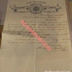 Cartas comerciales: JAEN, 1903, CARTA COMERCIAL , LAS COLONIAS, PROVEEDOR DE LA REAL CASA. Lote 125418963