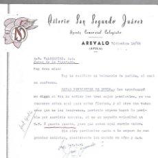 Cartas comerciales: CARTA COMERCIAL. ASTERIO SAN SEGUNDO JUAREZ. AGENTE COMERCIAL. AREVALO, AVILA. 1964. Lote 125873447