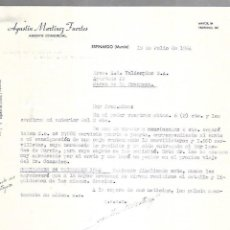 Cartas comerciales: CARTA COMERCIAL. AGUSTIN MARTINEZ FUERTES. AGENTE COMERCIAL. ESPINARDO. MURCIA. 1964. Lote 125873491