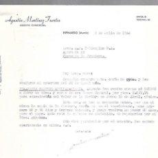 Cartas comerciales: CARTA COMERCIAL. AGUSTIN MARTINEZ FUERTES. AGENTE COMERCIAL. ESPINARDO. MURCIA. 1964. Lote 125873515