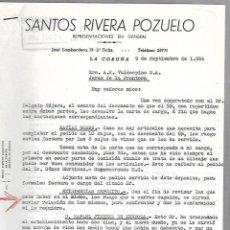 Cartas comerciales: CARTA COMERCIAL. SANTOS RIVERA POZUELO. REPRESENTACIONES. LA CORUÑA. 1964. Lote 125873571