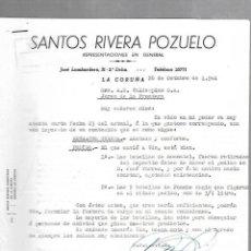 Cartas comerciales: CARTA COMERCIAL. SANTOS RIVERA POZUELO. REPRESENTACIONES. LA CORUÑA. 1964. Lote 125873595