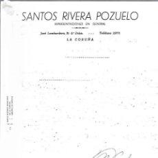 Cartas comerciales: CARTA COMERCIAL. SANTOS RIVERA POZUELO. REPRESENTACIONES. LA CORUÑA. 1964. Lote 125873611