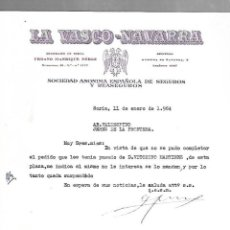 Cartas comerciales: CARTA COMERCIAL. LA VASCO-NAVARRA. SEGUROS. SORIA. 1964. Lote 125873643