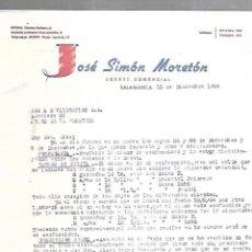 Cartas comerciales: CARTA COMERCIAL. JOSE SIMON MORETON. AGENTE COMERCIAL. 1964. SALAMANCA. Lote 125873879