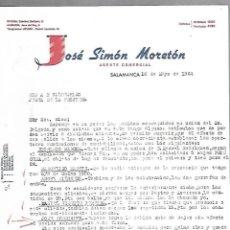 Cartas comerciales: CARTA COMERCIAL. JOSE SIMON MORETON. AGENTE COMERCIAL. 1964. SALAMANCA. Lote 125873891