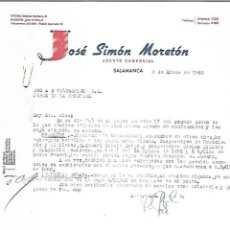 Cartas comerciales: CARTA COMERCIAL. JOSE SIMON MORETON. AGENTE COMERCIAL. 1964. SALAMANCA. Lote 125873911