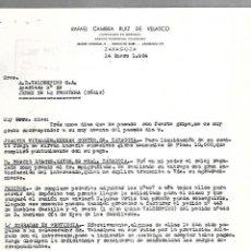 Cartas comerciales: CARTA COMERCIAL. RAFAEL CAMBRA RUIZ DE VELASCO. ZARAGOZA. 1964. Lote 125873935