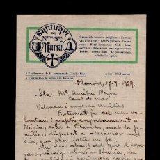 Cartas comerciales: L16-12 CARTA PUBLICITARIA DEL SANTUARI DE NTRA SRA. DE NURIA DEL AÑO 1929. Lote 125899151