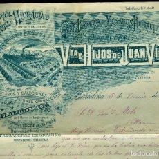 Cartas comerciales: MARMOL HIDRÁULICO - 1901 - VDA E HIJOS DE JUAN VILA . Lote 125909751