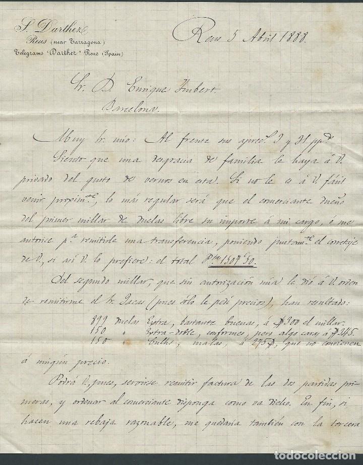 carta s.darthez reus año 1888 2 paginas firmada - Comprar Cartas ...