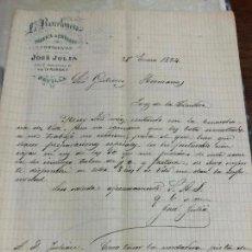 Cartas comerciales: ANTIGUO DOCUMENTO DE FABRICA ENVASES LA BARCELONESA - SEVILLA - A JEREZ DE LA FRONTERA AÑO 1894. Lote 126998667