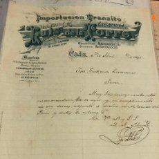 Cartas comerciales: CARTA COMERCIAL IMPORTACION TRANSITO LUIS DE LA TORRE - CADIZ AÑO 1895. Lote 127130927