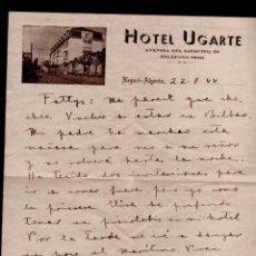 Lettres commerciales: C9-11 CARTA DEL HOTEL UGARTE DE NEGURI - ALGORTA (GETXO) VIZCAYA. Lote 128145259