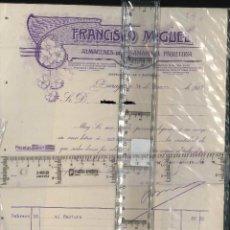 Cartas comerciales: FRANCISCO MIGUEL ZARAGOZA CARTA COMERCIAL 1916 ALMACÉN PASAMAERIA . Lote 128308879