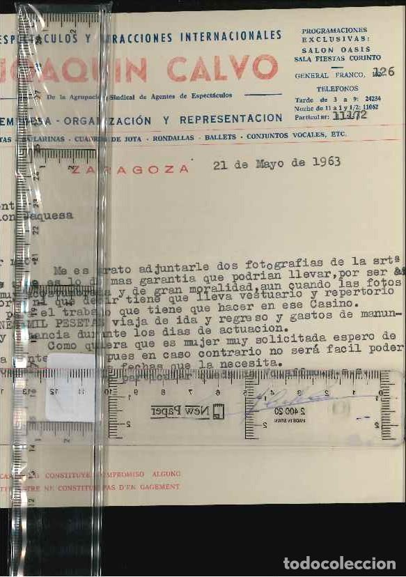 ESPECTACULOS, JOAQUIN CALVO, ZARAGOZA 1963 (Coleccionismo - Documentos - Cartas Comerciales)