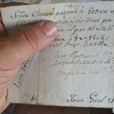 Cartas comerciales: DOCUMENTO DE SABADELL AÑO 1808. Lote 130537359