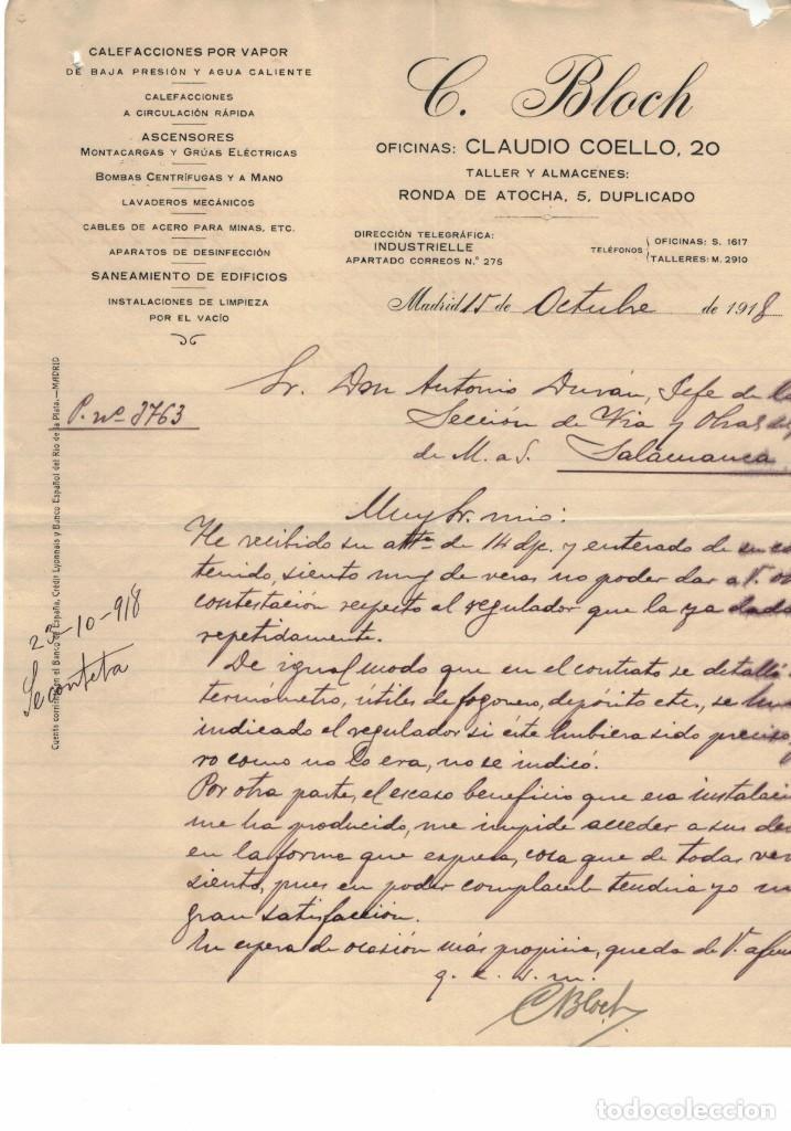 CARTA COMERCIAL C. BLOCH MADRID AÑO 1918 (Coleccionismo - Documentos - Cartas Comerciales)