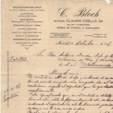 Cartas comerciales: CARTA COMERCIAL C. BLOCH MADRID AÑO 1918. Lote 131116832